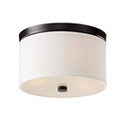 Braxton 10 Inch Ceiling Light - White Linen, Black Trim