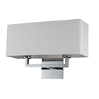 Prescott Double Wall Lamp - Off-White Linen, Polished Chrome Steel