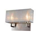 Prescott Double Wall Lamp - Silver Silk, Brushed Nickel