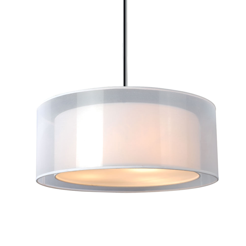 Phoenix 20 Inch Pendant Light - White Organza & Linen, Drum Shade