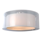 Phoenix 2 Light Ceiling Lamp - White Organza & Linen, Drum Shade