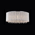 Crystalline Modern Flush Mount Chandelier - Chrome, Metal