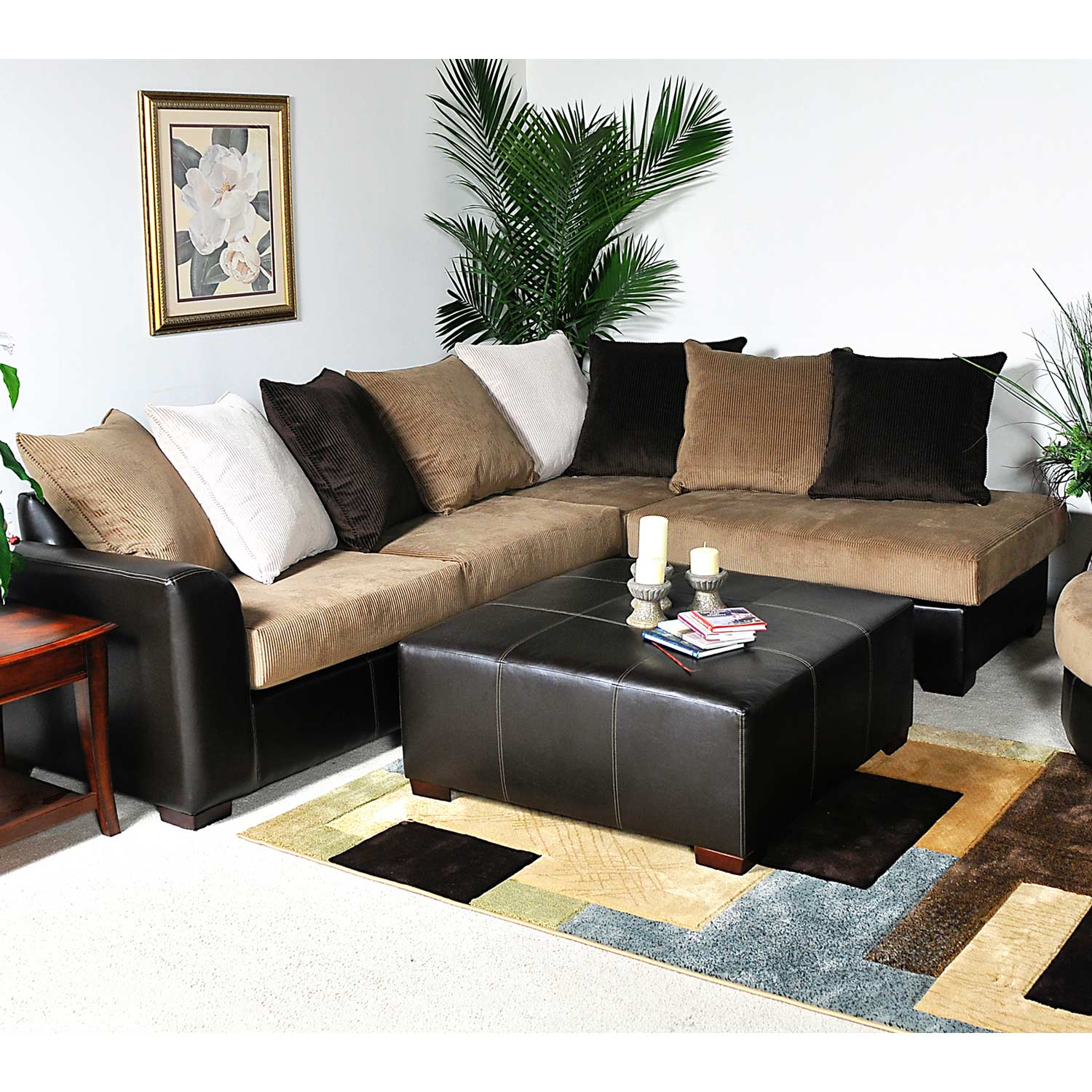 Domino Modern Sectional Sofa - Multi-Toned Pillows