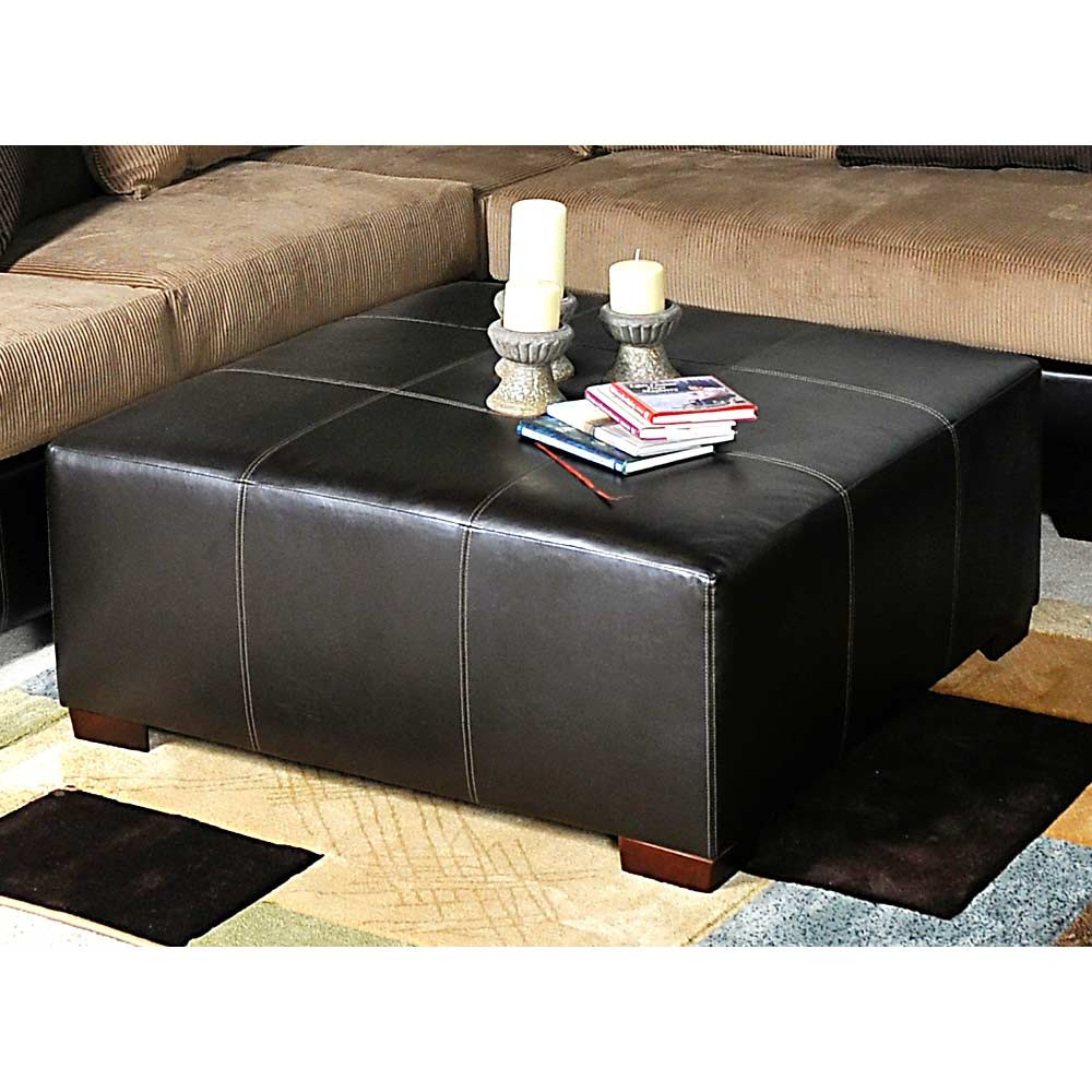 Domino Square Ottoman - Wooden Feet, Stitching - CHF-1450-O
