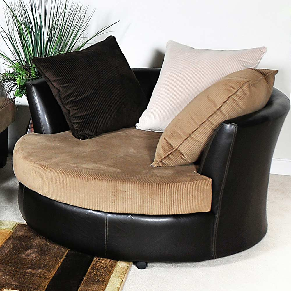 Domino Round Lounge Chair - Casters, Multi-Toned Pillows