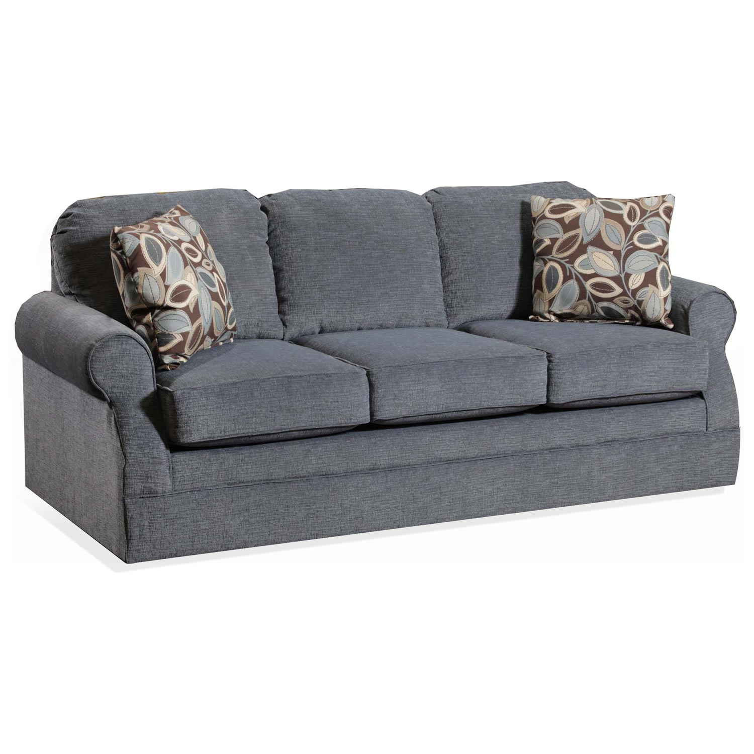 Bixby Contemporary Sofa - Rolled Arms, Textura Blue Fabric
