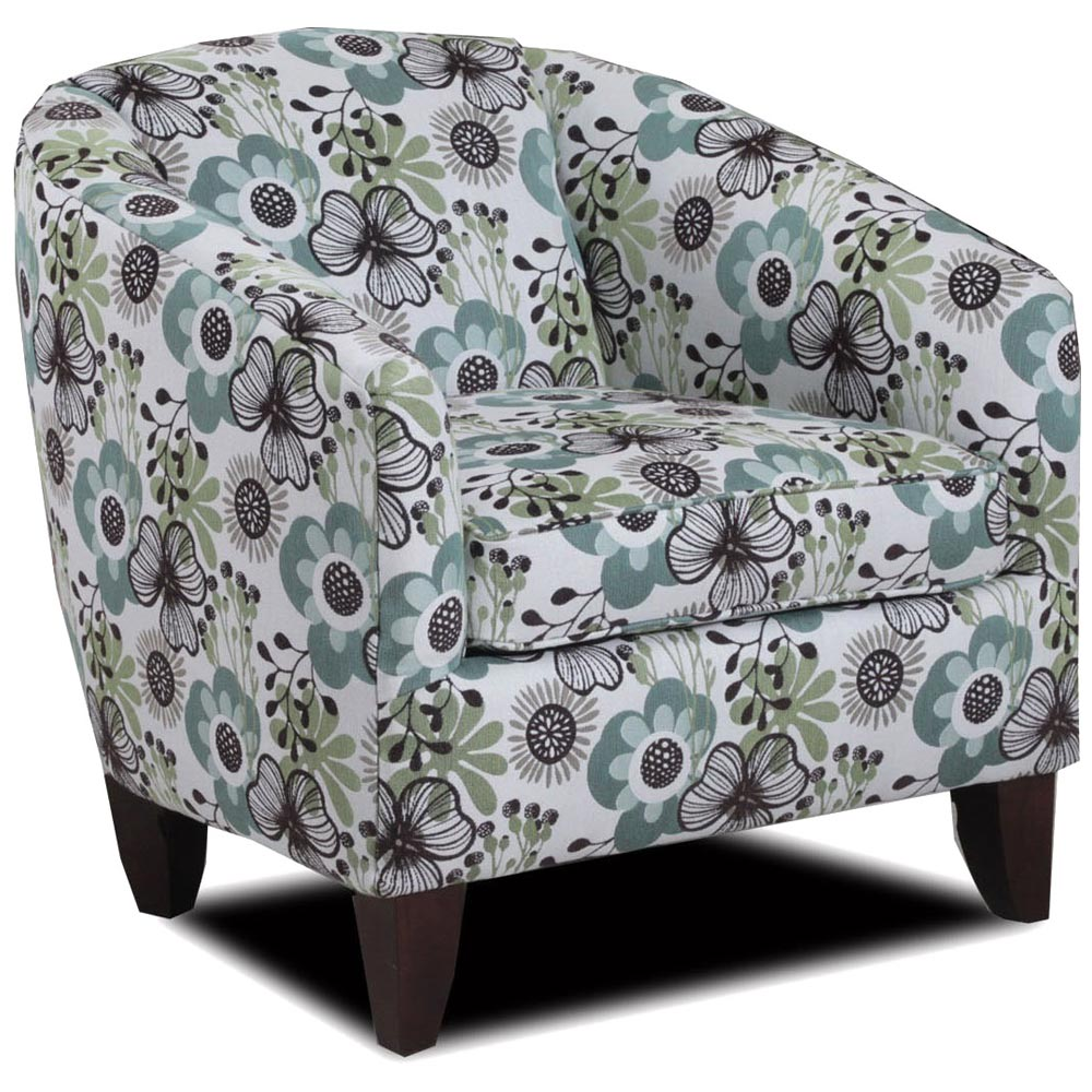 Ponca Barrel Back Armchair - Blossom Park Oasis Fabric