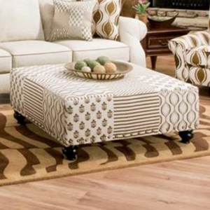 Hazel Transitional Square Ottoman - Patches Bronze Fabric