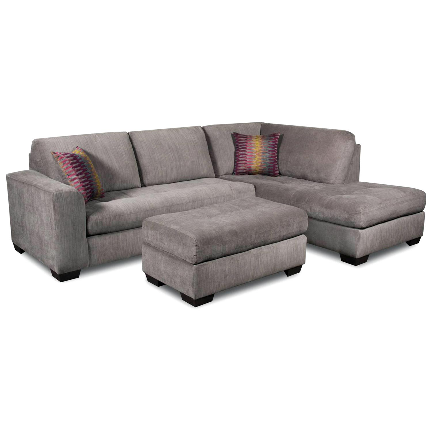 Almeda Sofa & Chaise Sectional - Heather Seal Fabric