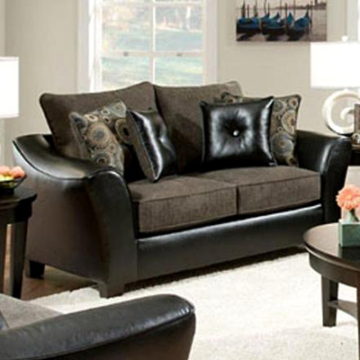Union Upholstered Loveseat - Charcoal Fabric Cushions