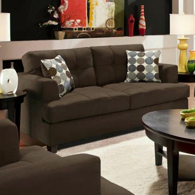 Morris Tufted Loveseat - Calcutta Coffee Fabric