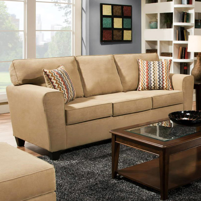 Beaumont Transitional Sofa - Temperance Brownstone Fabric