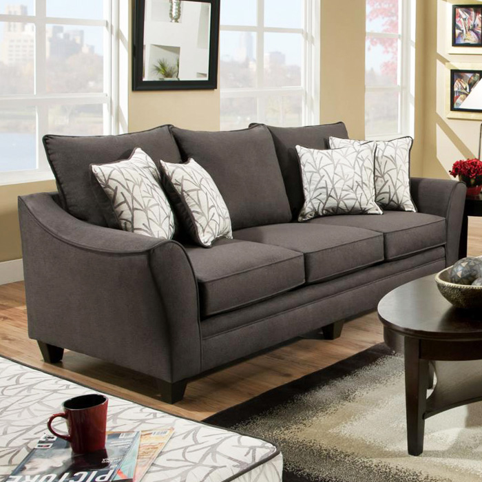Cupertino Flared Arm Sofa - Flannel Seal Fabric - CHF-183853-4040