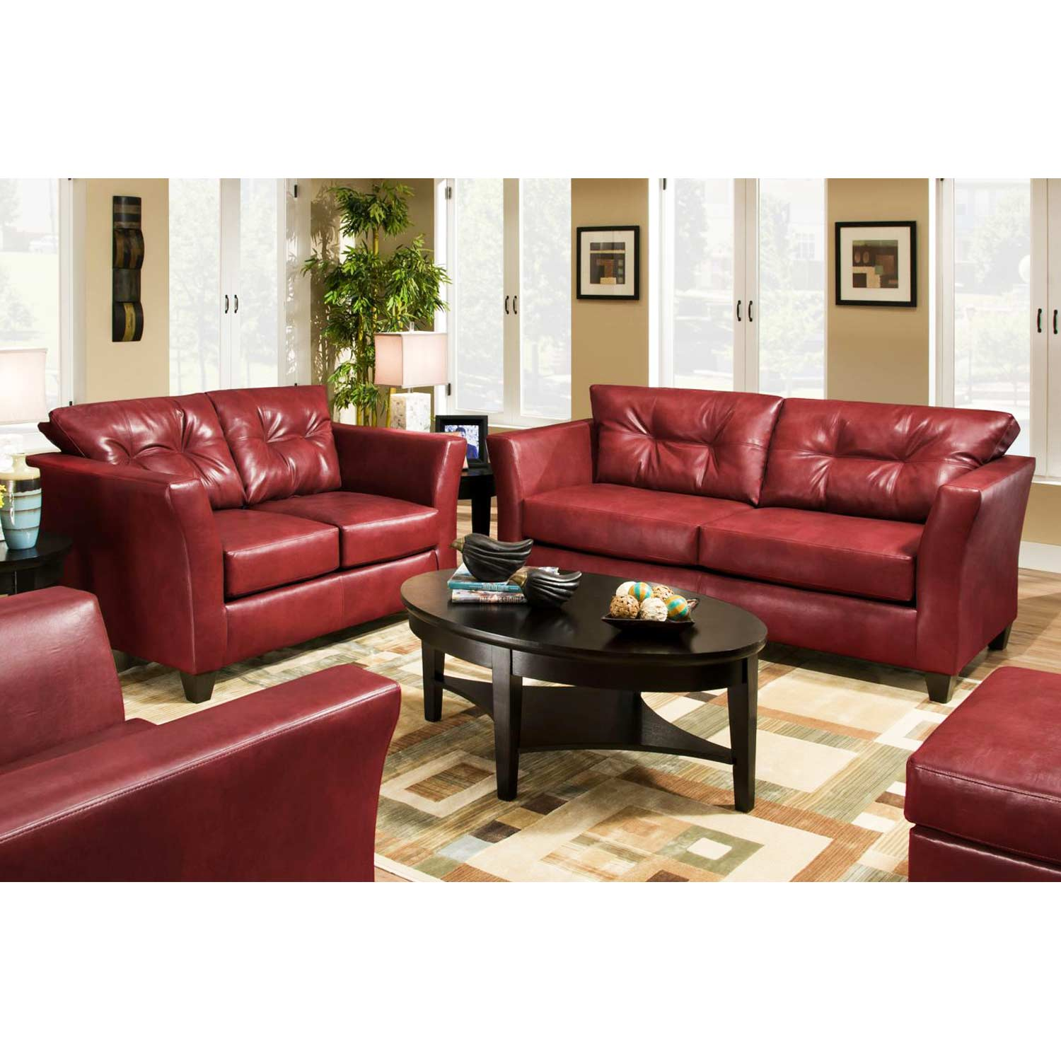 Del Mar Tufted Leather Loveseat - Tonto Strawberry - CHF-184502-5122