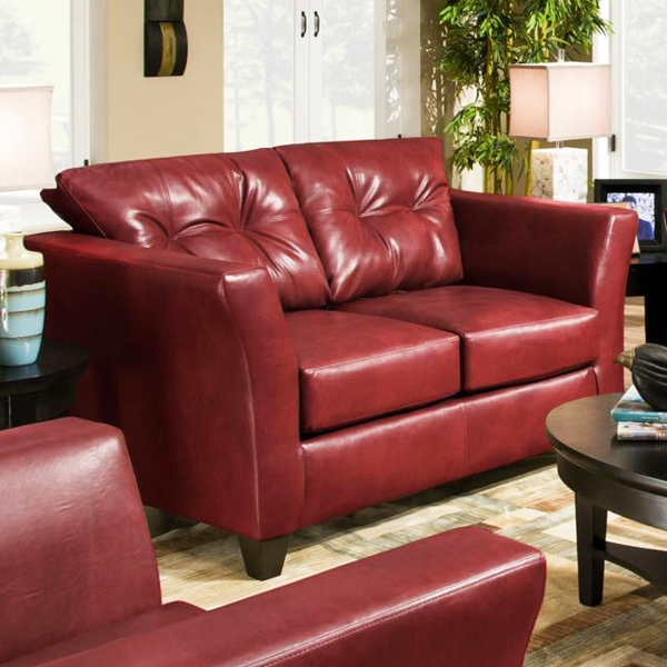 Del Mar Tufted Leather Loveseat - Tonto Strawberry