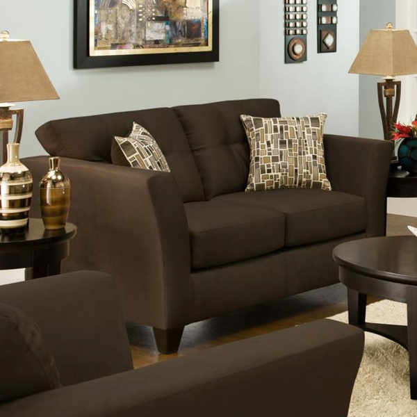 Del Mar Tufted Loveseat - Beijing Chocolate Fabric
