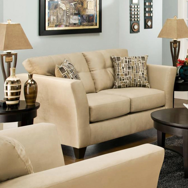 Del Mar Tufted Loveseat - Beijing Toast Fabric