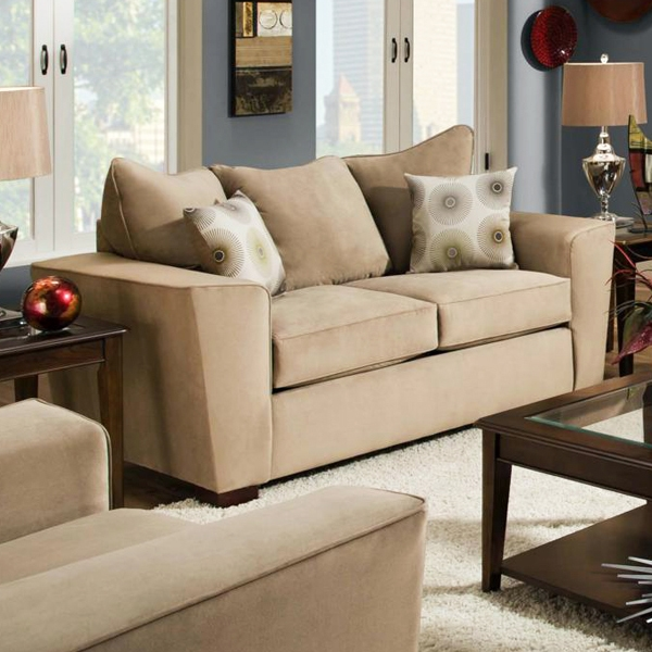 Escondido Tapered Arm Fabric Loveseat - Noble Camel