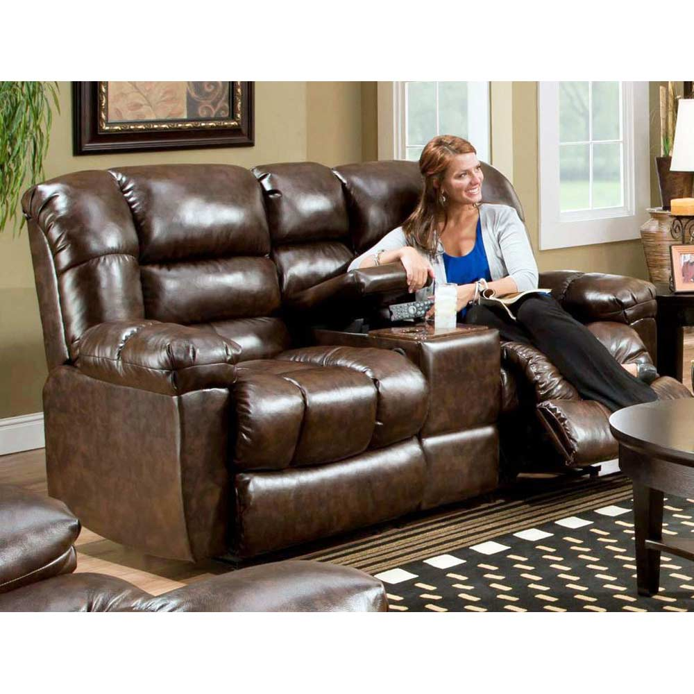 Orleans Upholstered Reclining Loveseat - New Era Walnut