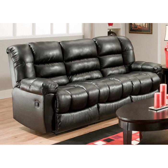 Orleans Upholstered Reclining Sofa - New Era Black