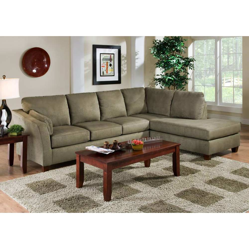Broome Fabric Sofa & Chaise Sectional - Glacier Olive