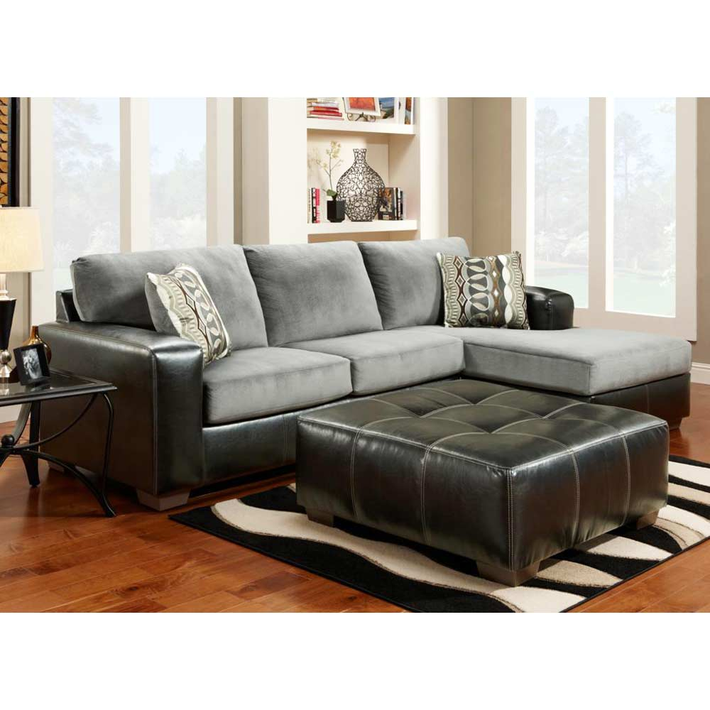 Bradford Sofa & Chaise Sectional - Cumulus Charcoal Cushions