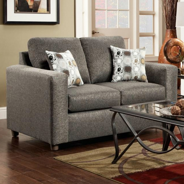 Talbot Contemporary Loveseat - Vivid Onyx Fabric - CHF-193602-VO