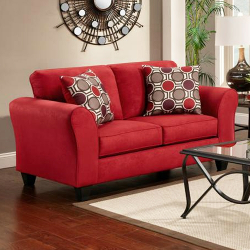 Lehigh Microfiber Loveseat - Patriot Red