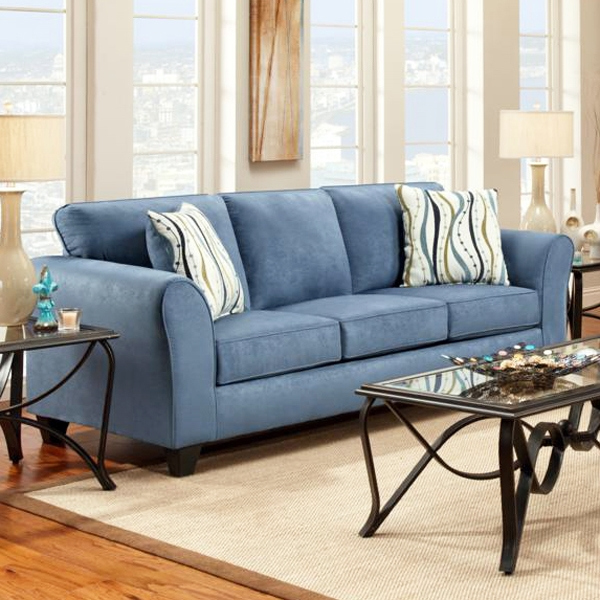 Lehigh Microfiber Sofa - Patriot Blue