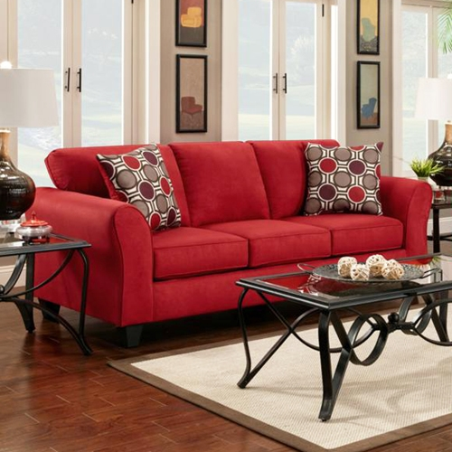 Lehigh Microfiber Sofa - Patriot Red