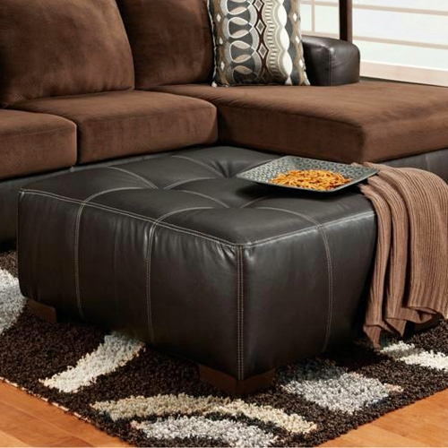 Bradford Square Party Ottoman - Dark Brown Upholstery