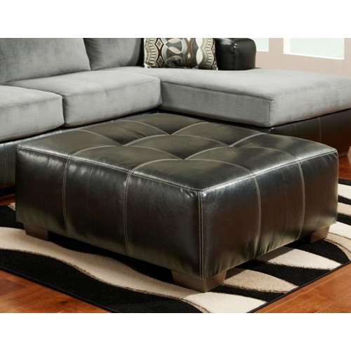 Bradford Square Party Ottoman - Black Upholstery