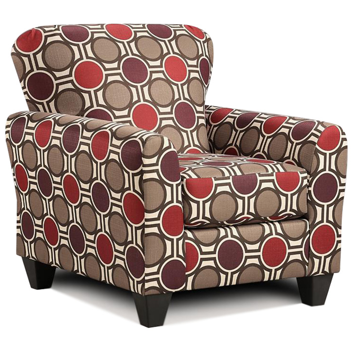 Lehigh Pattern Fabric Accent Chair - Compass Claret