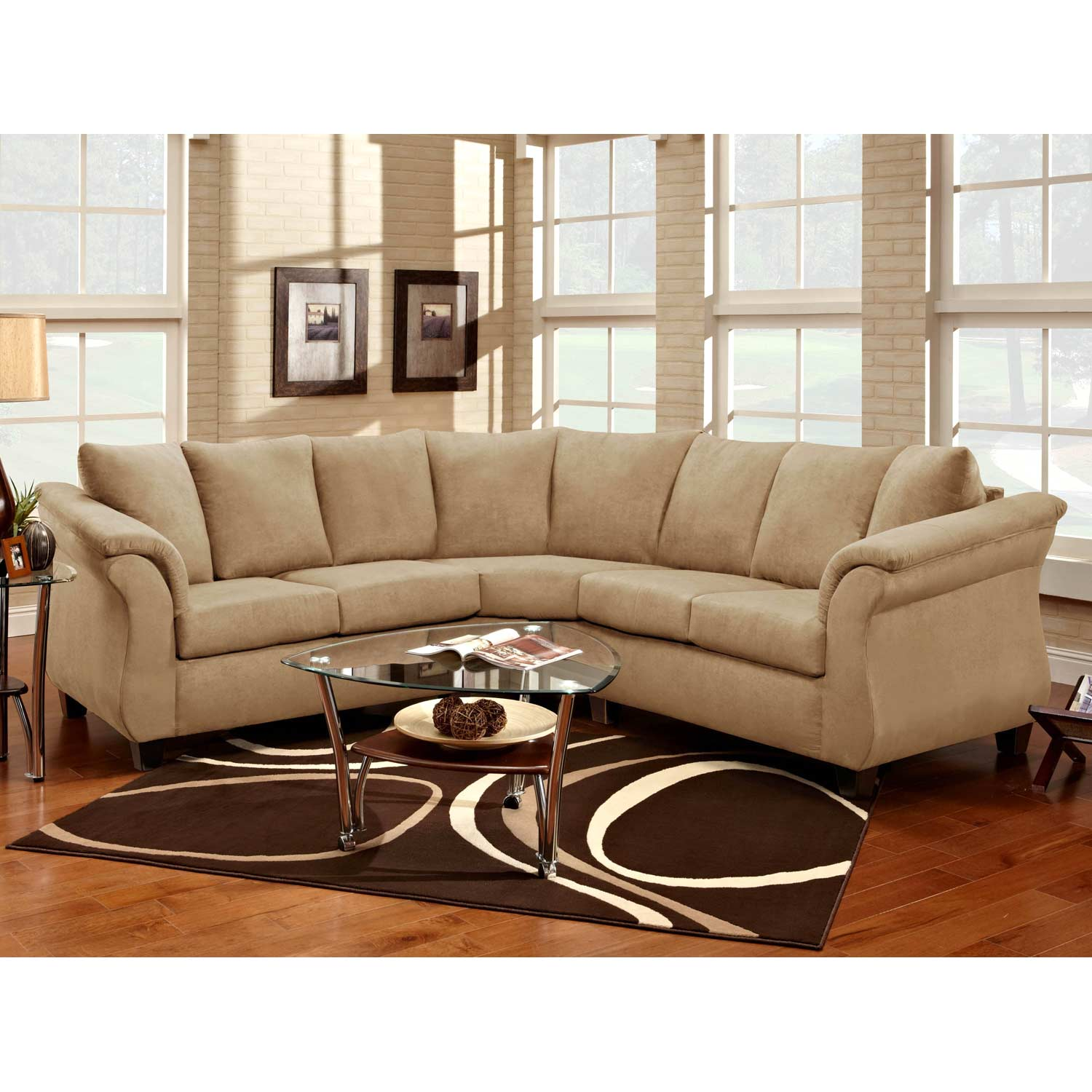 Michelle Sectional Sofa - Tapered Feet, Flat Suede Buff