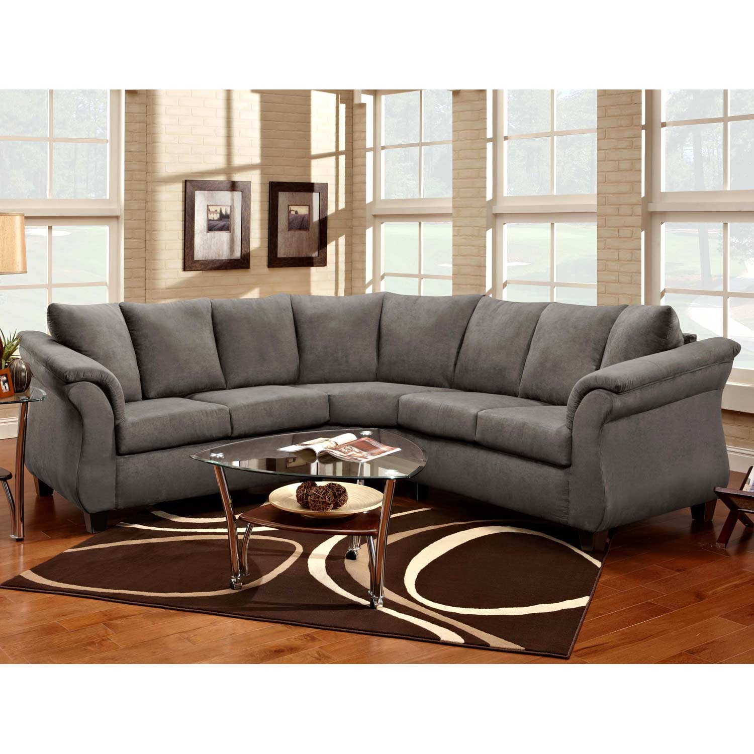 Michelle Sectional Sofa - Tapered Feet, Flat Suede Graphite