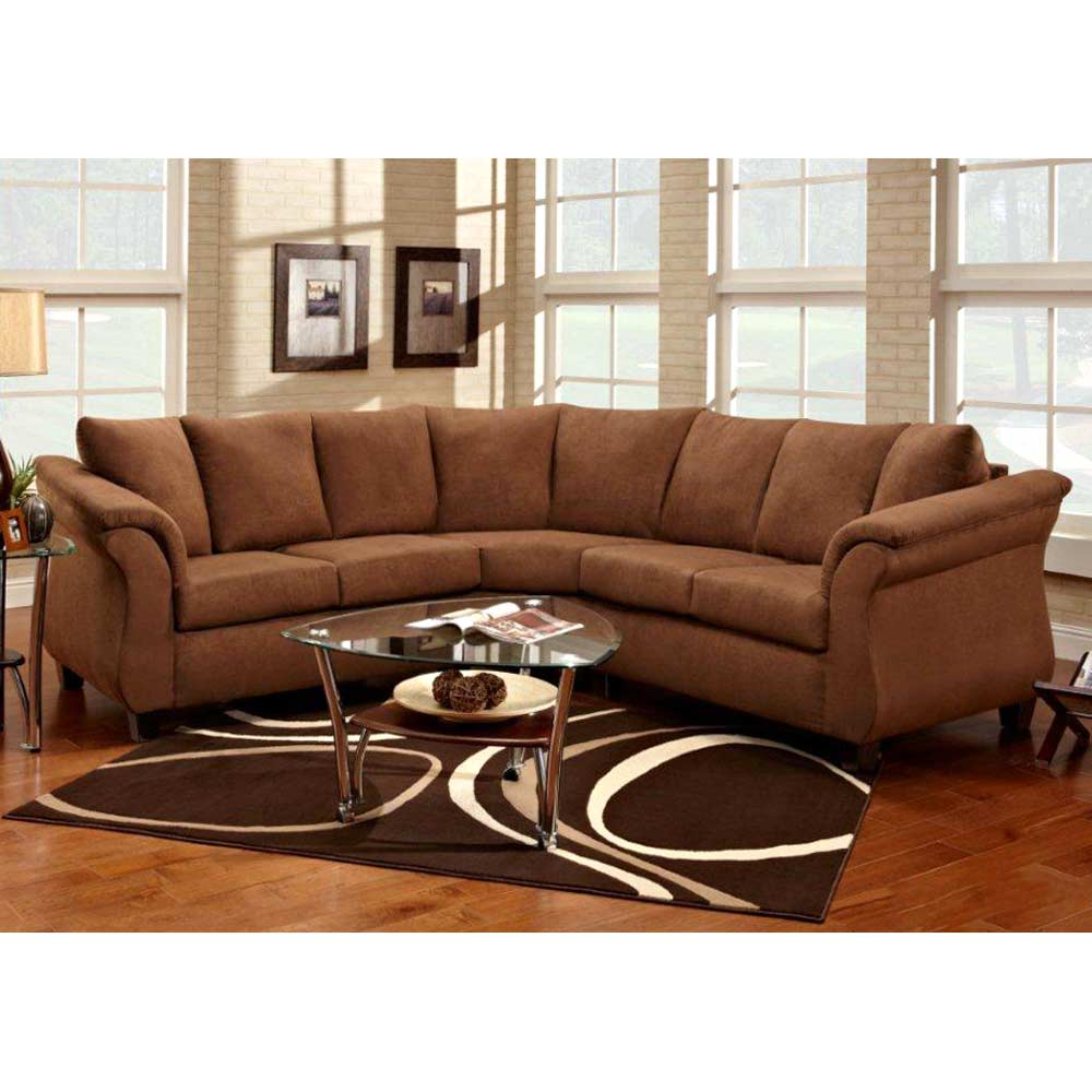 Michelle Sectional Sofa - Tapered Feet, Flat Suede Chocolate