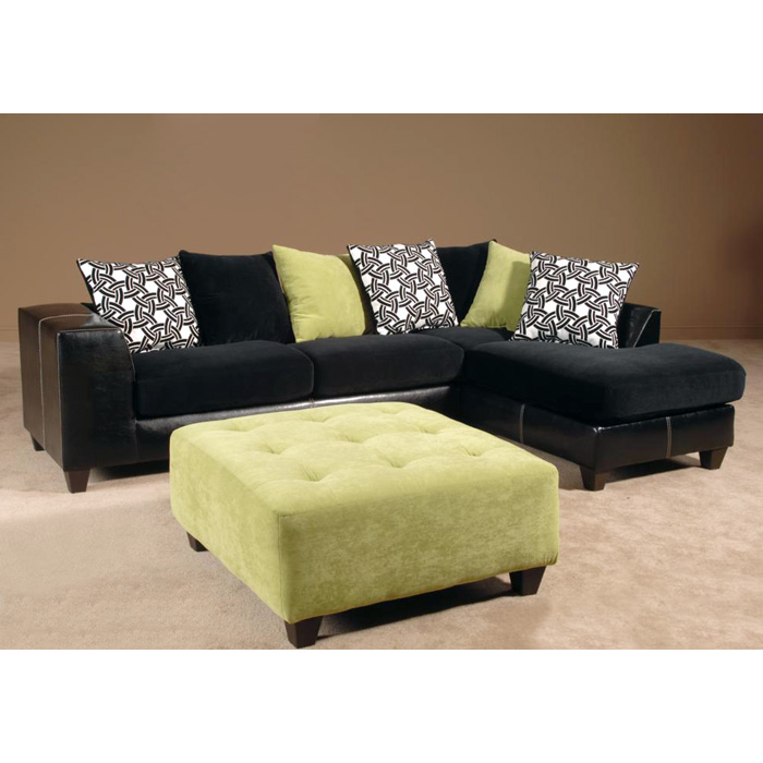 Fiona Sofa & Chaise Sectional - Montego Apple Pillows
