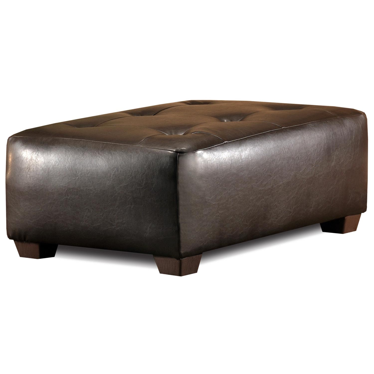 Upholstered Rectangular Ottoman - Tufting, Brown