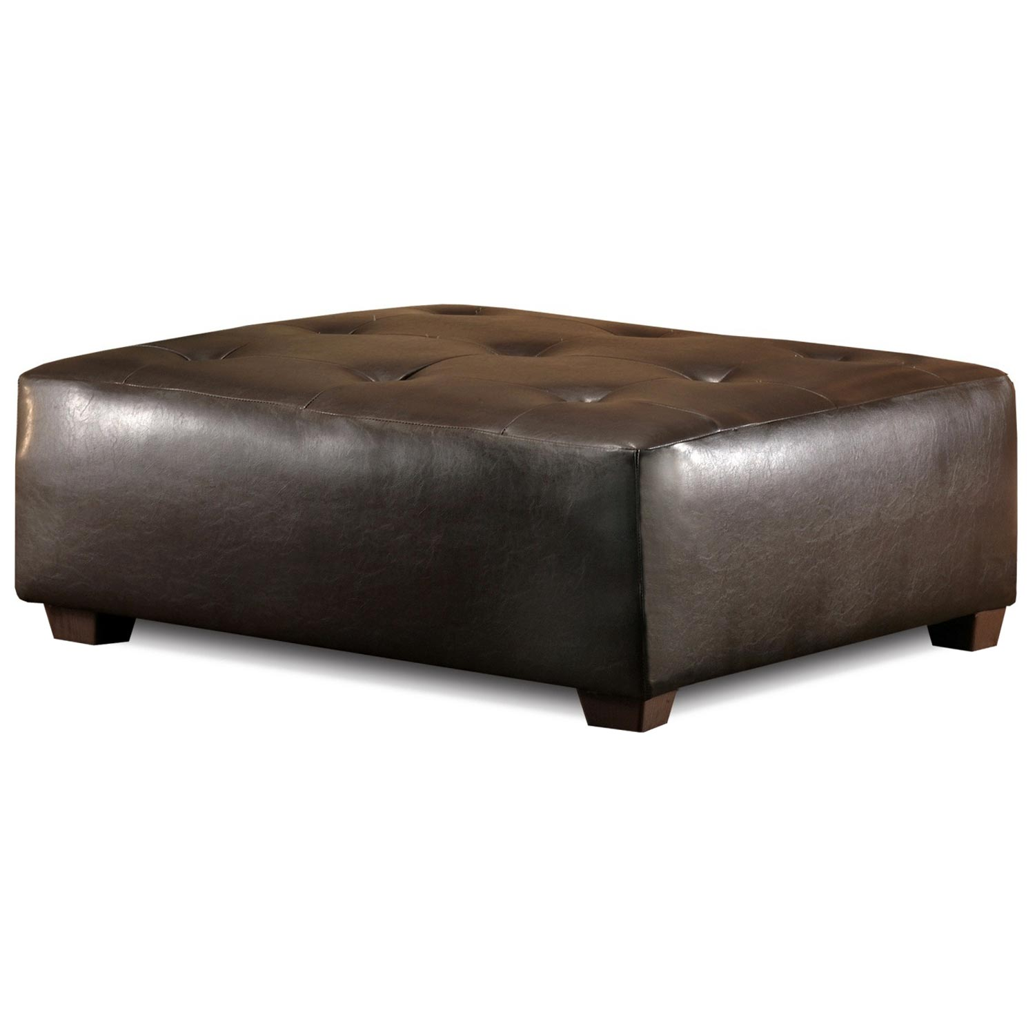 Upholstered Square Ottoman - Tufting, Brown
