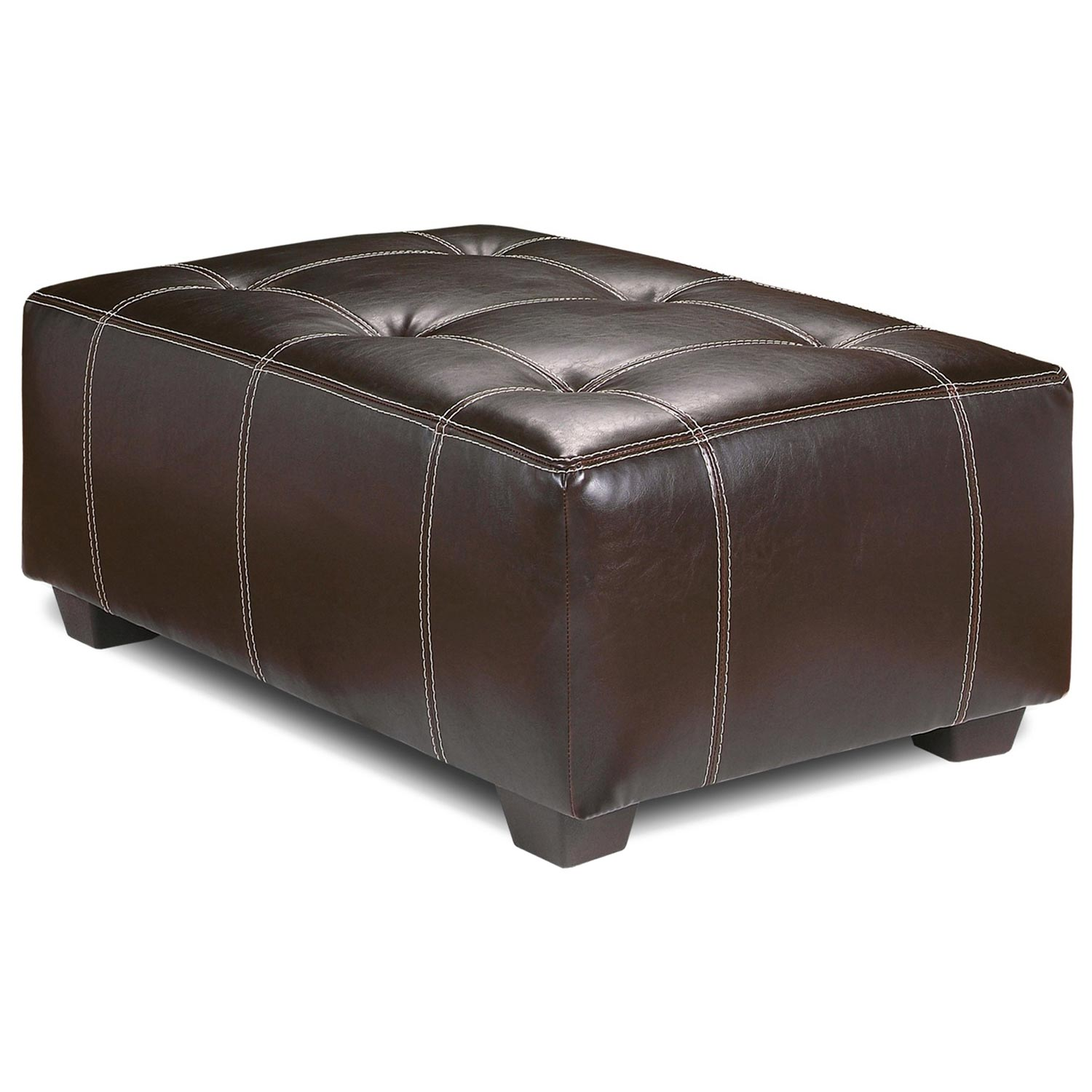 Upholstered Rectangular Ottoman - Contrast Stitching, Brown