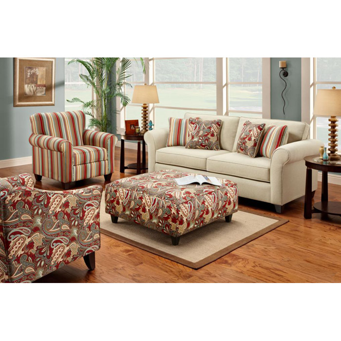 Essex Living Room Sofa Set with Ottoman
