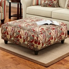 Essex Ottoman in Caravan Garnet Print Fabric