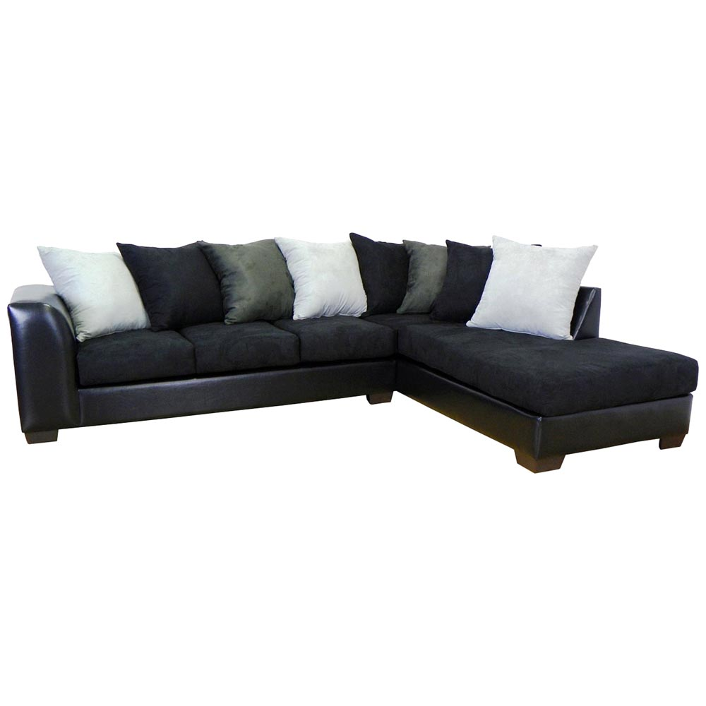Christine Sofa & Chaise Sectional - Bulldozer Black