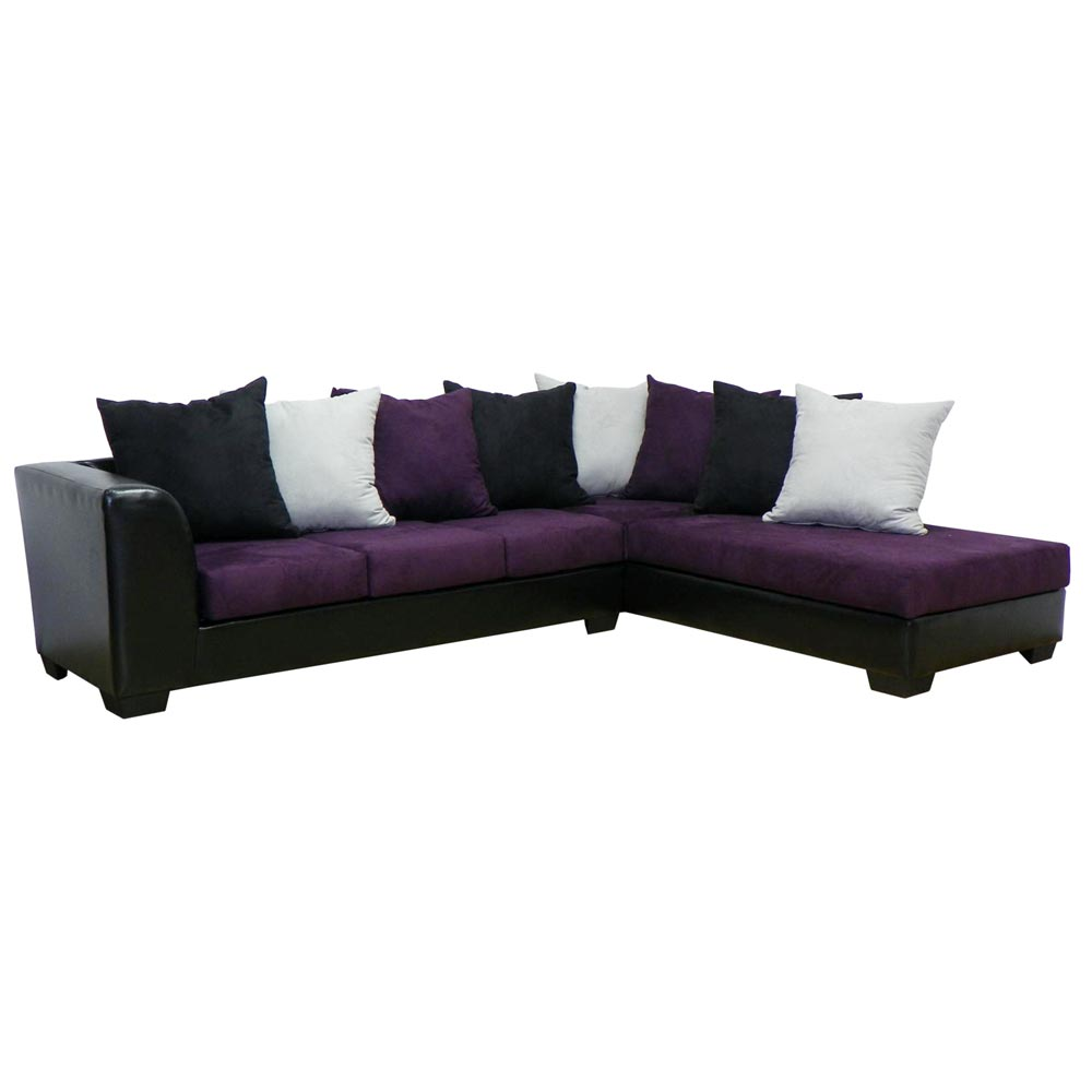 Christine Sofa & Chaise Sectional - Bulldozer Eggplant
