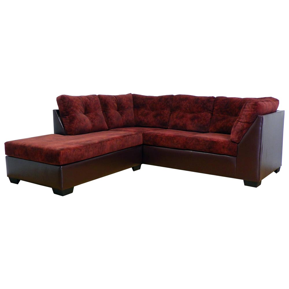 Miranda Sofa & Chaise Sectional - Tufted, Chaparral Burgundy