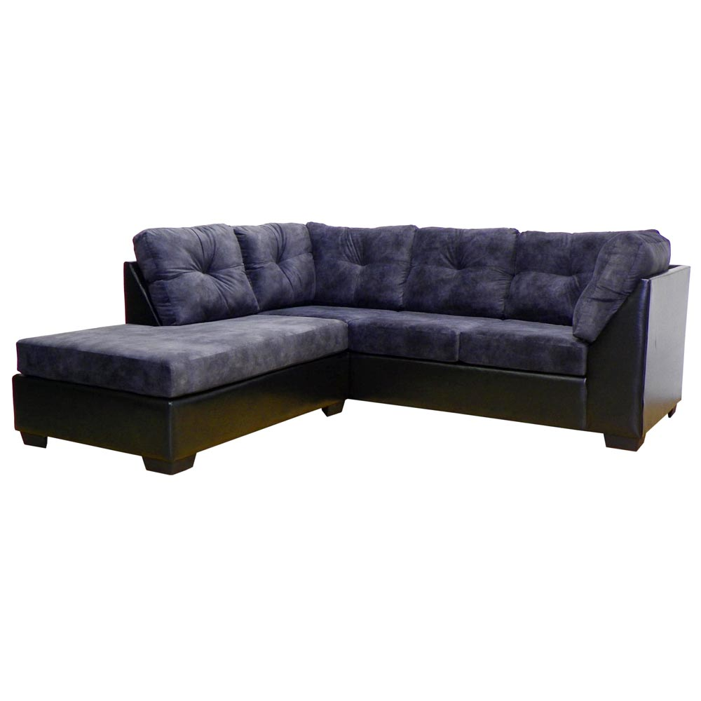 Miranda Sofa & Chaise Sectional - Tufted, Chaparral Onyx