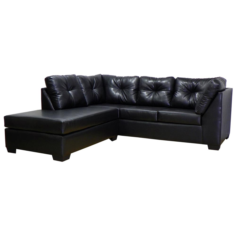 Miranda Sofa & Chaise Sectional - Tufted, San Marino Black