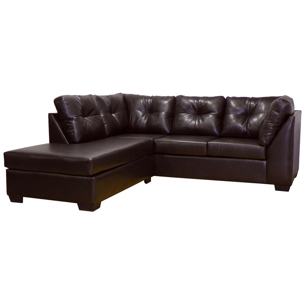 Miranda Sofa & Chaise Sectional - Tufted, San Marino Brown