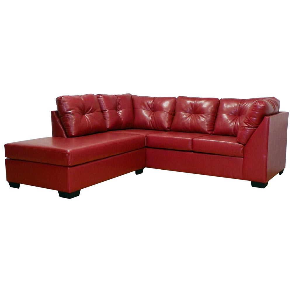 Miranda Sofa & Chaise Sectional - Tufted, San Marino Red