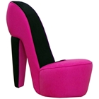 Queen Shoe Accent Chair - Hot Pink & Black Velvety Fabric